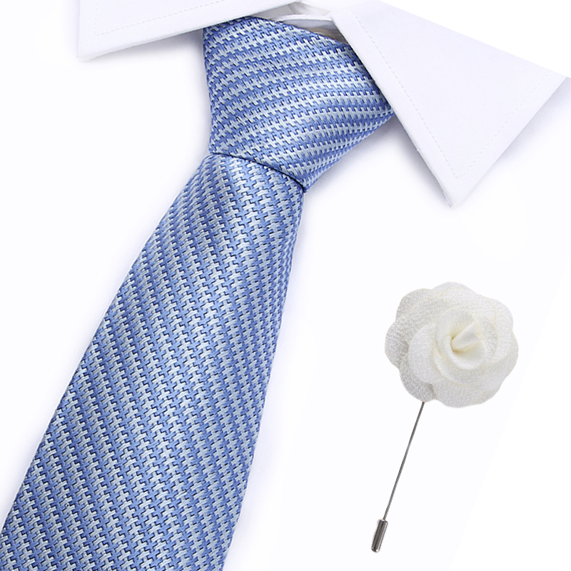 High Quality Multicolor Ripple Abstract Classic Silk Extra Long Size Mens Necktie Set Brooch Ties For Men 7.5cm Slim Tie
