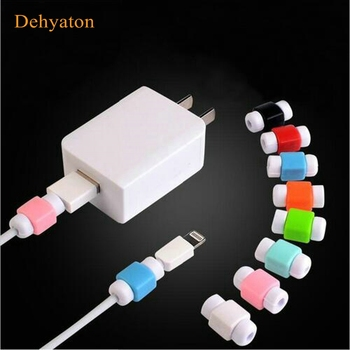 Dehyaton Simple Cute Protector Data Line Cord Protector Protective Case Cable Winder Cover For iPhone USB Color Charging Cable