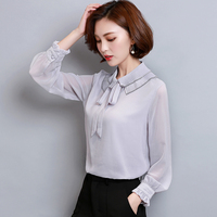 Blusas Plus Size XXXL Women Tops Autumn Work Wear Slim Pleated Ruffled Collar Chiffon Shirt Feminine