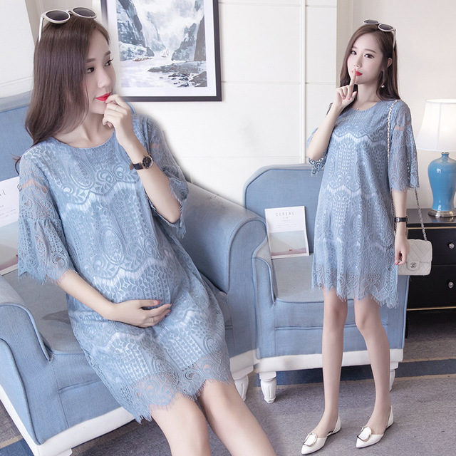 Summer Hollow Out Expectant Mother Casual Lace Dress 3 Colors