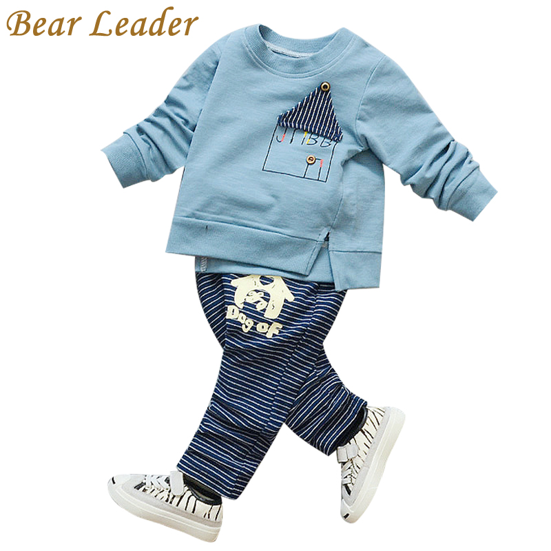 Bear Leader Baby Boys Girls Sets 2017 Autumn Baby Clothing Sets House Applique Sweatshirt+Striped Pants 2Pcs for Baby Clothes bear leader baby boys girls sets 2017 autumn baby clothing sets house applique sweatshirt striped pants 2pcs for baby clothes