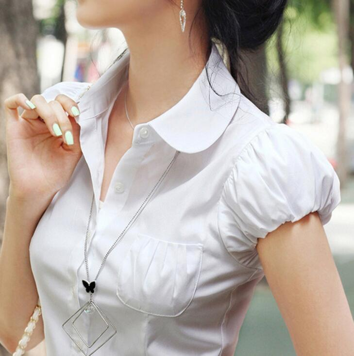 New Summer Women White Chiffon   Blouse     Shirts   Casual Short Sleeve Turn-down Collar Slim Tops   Shirt   Blusas