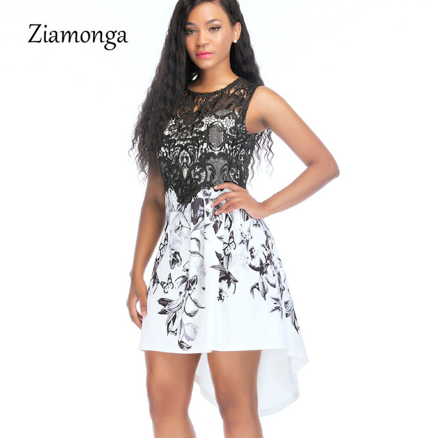 78f532a787 Ziamonga Women Casual Dress O-Neck Sleeveless Embroidery Lace Sexy Dress  2018 Summer Female Dress Elegant Skater Bodycon Dress