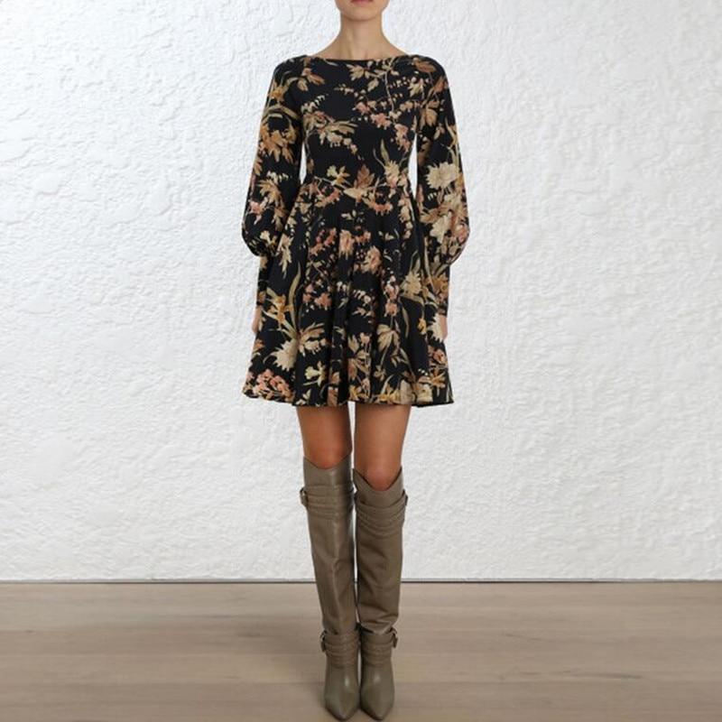 Imprimé Débridée Blouson Coupe Femmes Mini Basque Long As Soie Show Robe Floral Noir Jonquille Picture En Manches Biais txw18g
