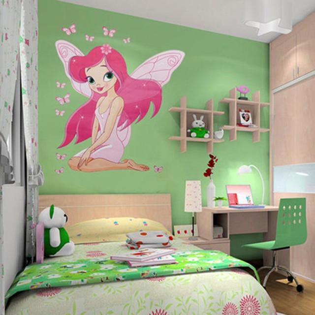 NEW arrive Kids Girl's Room Fairy Princess Butterfly Wall Stickers Vinyl Decal Cartoon 3D Baby Love Pink Art Mural Wall-door