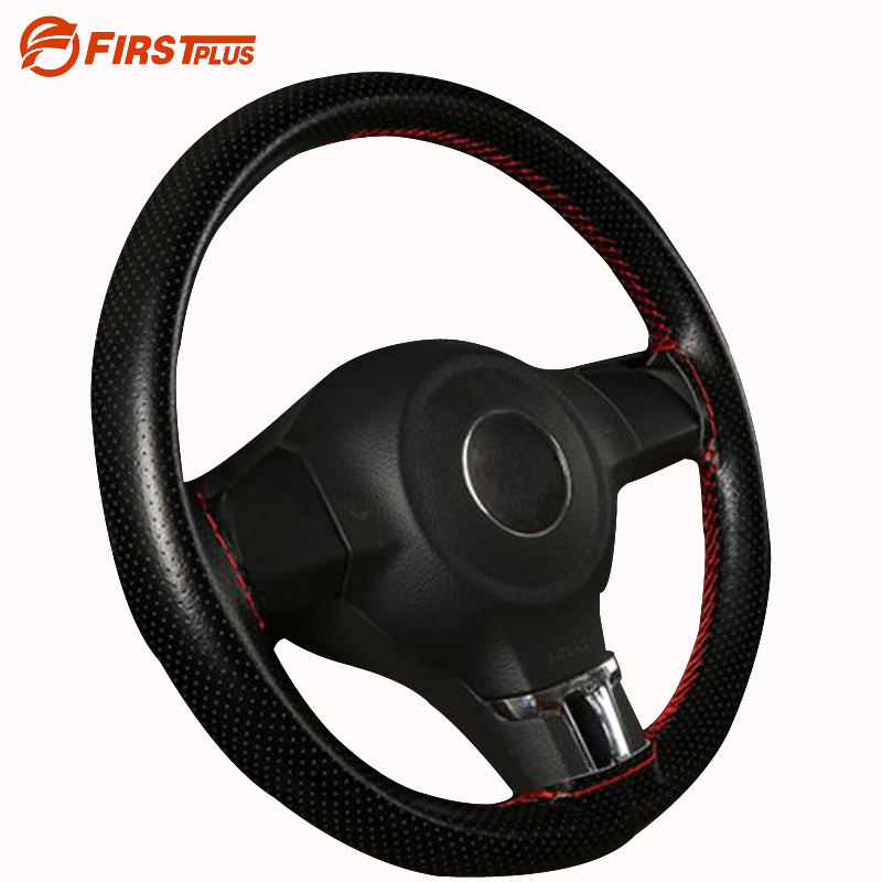 37 38cm Genuine Leather Car Steering Wheel Covers With Needle and Thread Universal Braid On Steering Wheel Cover DIY Car Styling perforated breathable skidproof steering wheel cover diameter 36cm 38cm 40cm fiber leather handlebar braid car covers