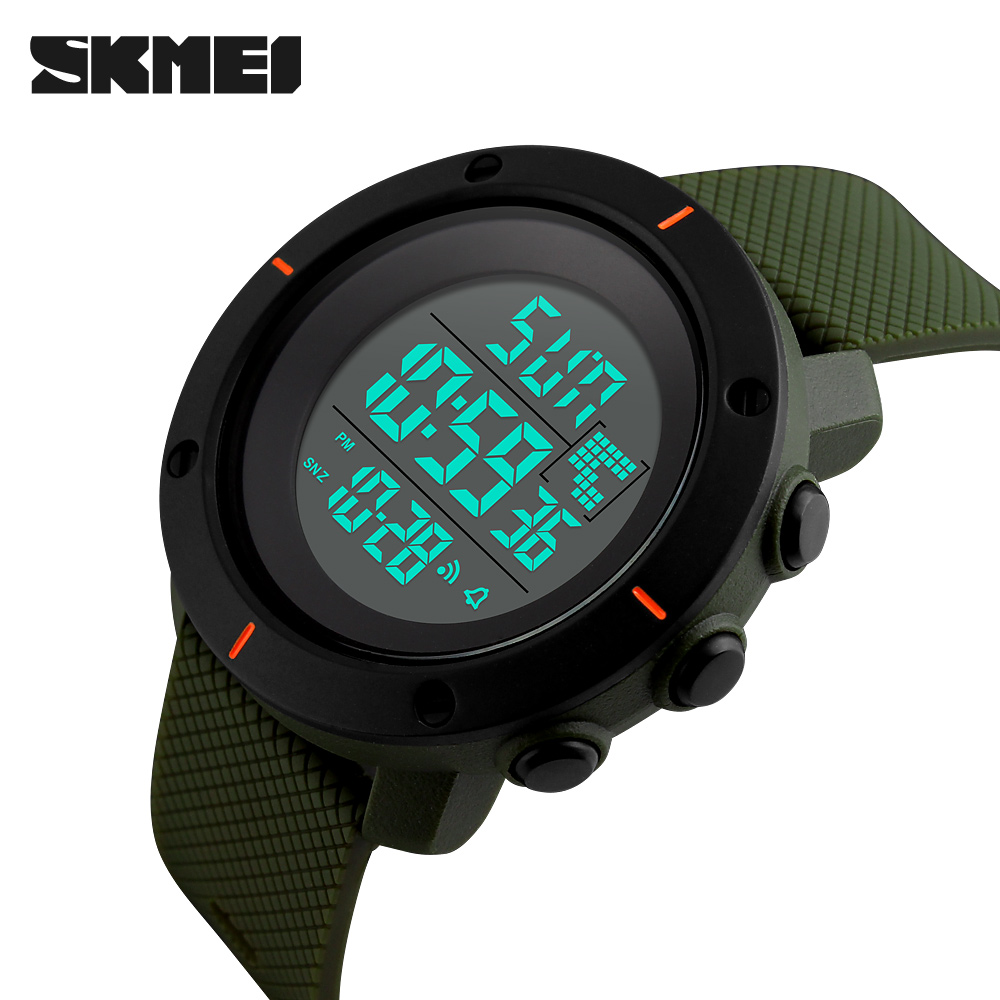 SKMEI Hot Men Sports Watches Big Dial 2 Time Zone Man Watches Digital LED Military Watch Fashion Casual Electronics Wristwatches