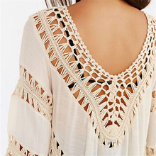 Beach Cover Up Dresses Bikini Wear Swimsuit Short Sleeve Beachwear Women Robe de plage 2018 White Pareo Crochet Tunic Dress Wear