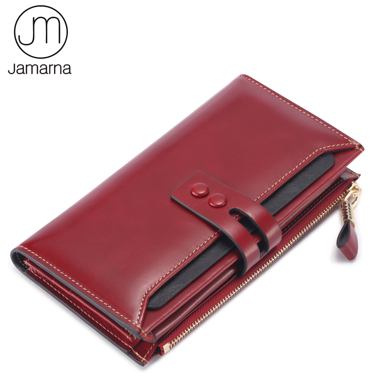 Jamarna Brand Women Wallets Genuine Leather Long Clutch Women Purse With Card Holder Phone Zipper Pocket Ladies Wallet Female top brand genuine leather wallets for men women large capacity zipper clutch purses cell phone passport card holders notecase