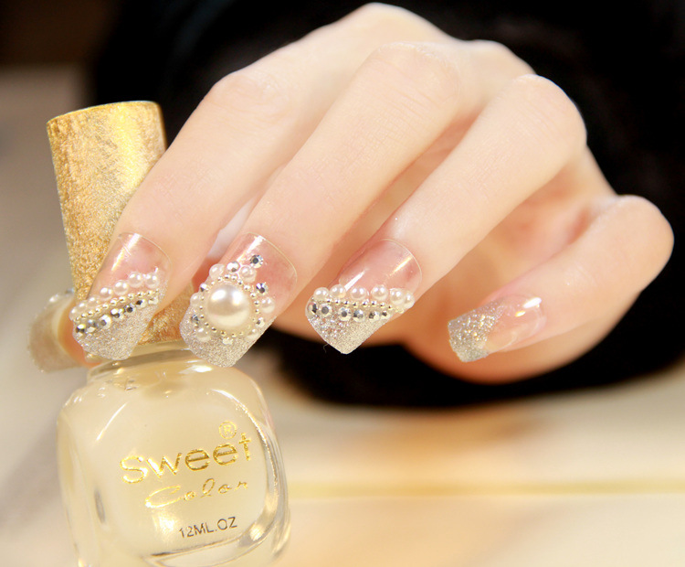 New Wedding Fake Nails with Pearls Normal Length Glitter Full Cover ...
