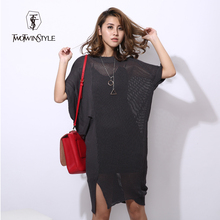 [TWOTWINSTYLE] 2017 autumn sweater dress women korean oversized knitwear see-through bat sleeve black gray casual clothing new