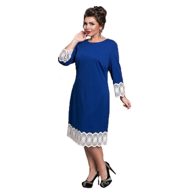 Plus Size Women Dresses 2017 Fashion Lace Patchwork Maxi Dress Fat MM 6xl  Loose Casual Clothing Top Sale Robe Sexy Femme Gothic 41a06b9f36d1