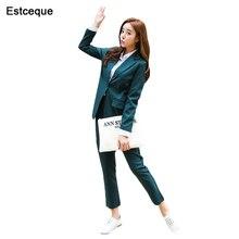 Новая мода Тонкий Бизнес одежда элегантный для женщин офис OL куртка комплект формальный блейзер+ брюки костюм Feminino женский