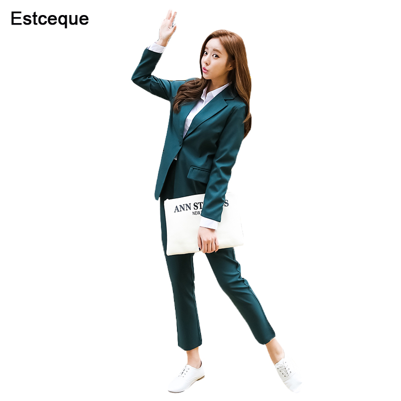 New Fashion Slim Business Wear Elegant Women Office OL Jacket Set Formal Blazer + Pants Suit Feminino Female