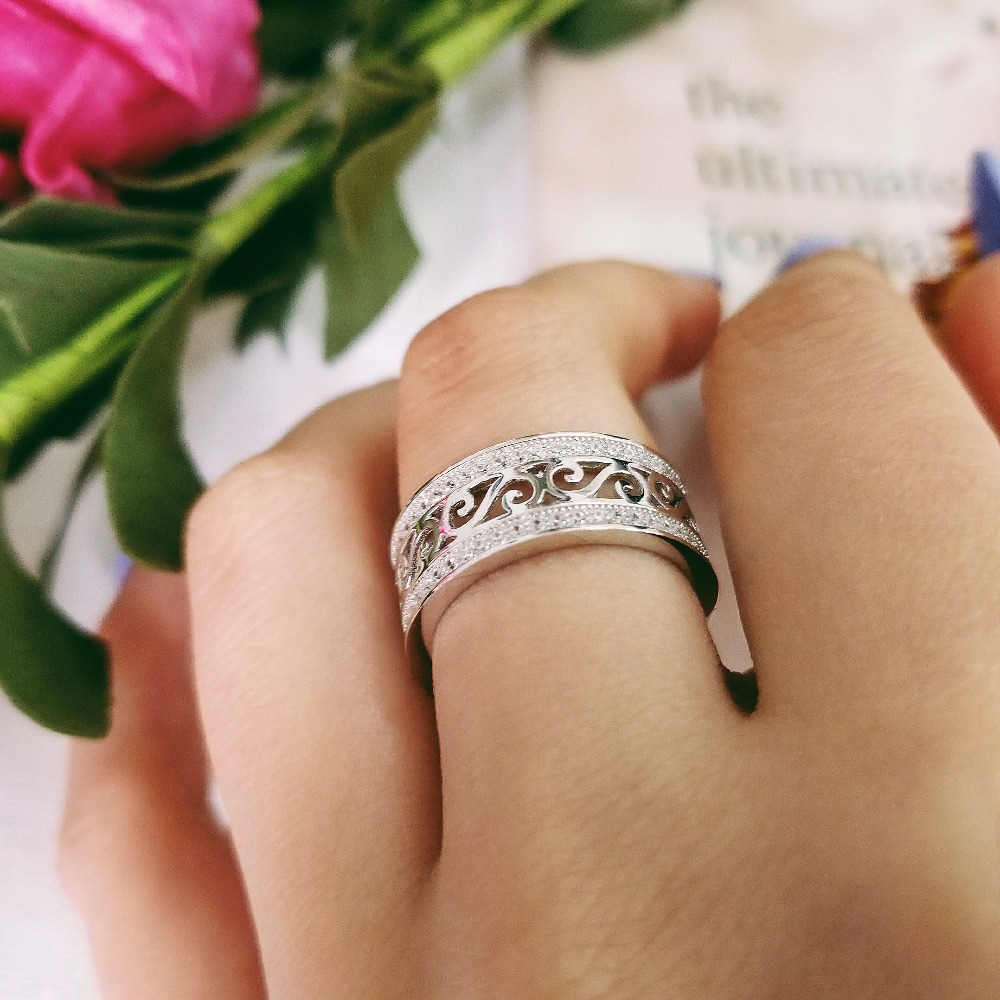 rose gold silver color 925 Sterling Silver wedding band eternity rings for women men male engagement bridal sepcial unique R879