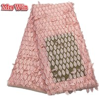 Mrs win African Guipure Lace Fabric Africain Guipure Chemical Lace with beads Nigerian Water Soluble leaf shape Lace For Wedding