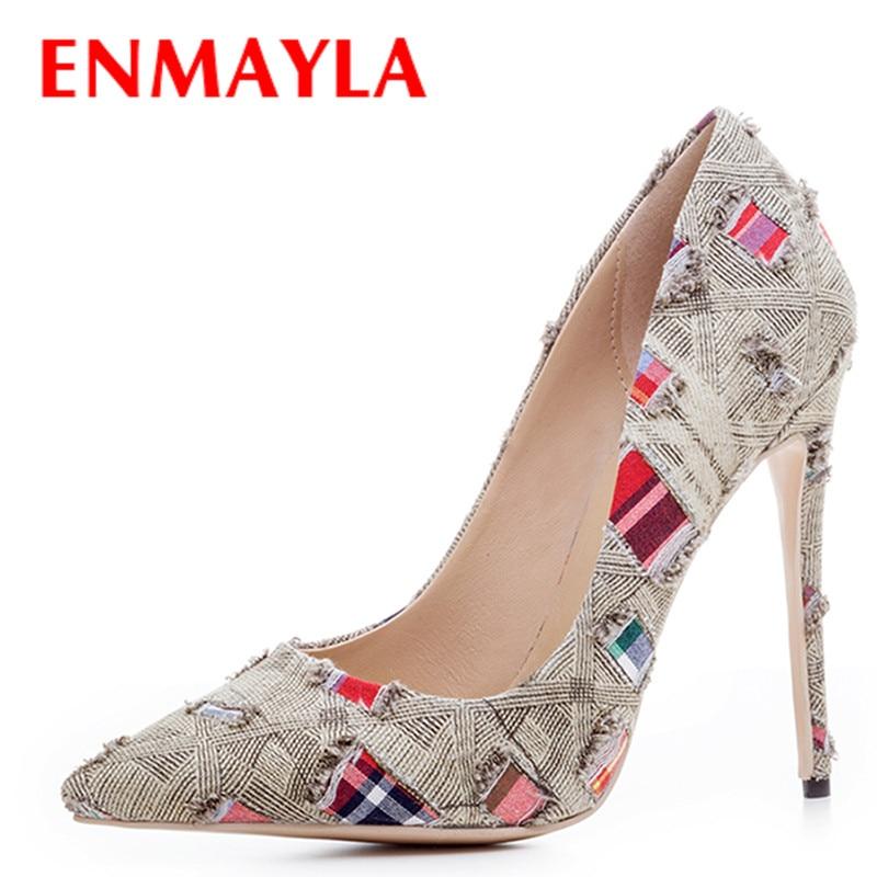 ENMAYLA Multi talons aiguilles chaussures en toile de Designer femmes talons minces pompes sans lacet chaussures pour femmes chaussures en Denim de caverne femme