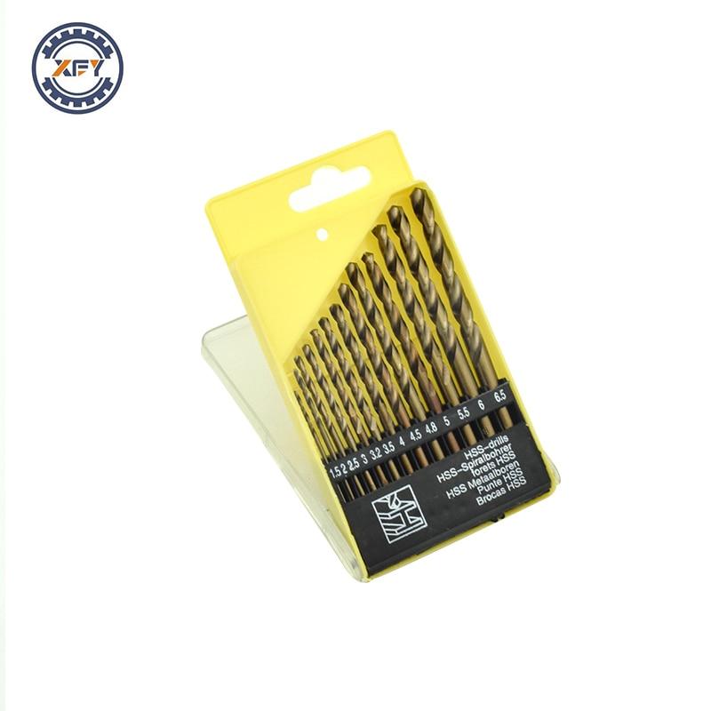 Xinfeiyang 10Set High Speed Steel Cobaltiferous Twist Drill Bit  Wood Metal Drilling High Quality 1.5-6.5mm Box 13pcs set hss high speed steel twist drill bit for metal titanium coated drill 1 4 hex shank 1 5 6 5mm power tools par ad1038