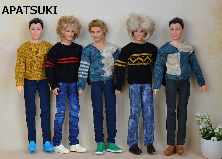 High Quality Handmade Casual Knitted Sweater Clothes For Barbie's Boyfriend Ken Doll Top Coat Clothes Male Doll Clothes handsome grey woolen coat belt for bjd 1 3 sd10 sd13 sd17 uncle ssdf sd luts dod dz as doll clothes cmb107