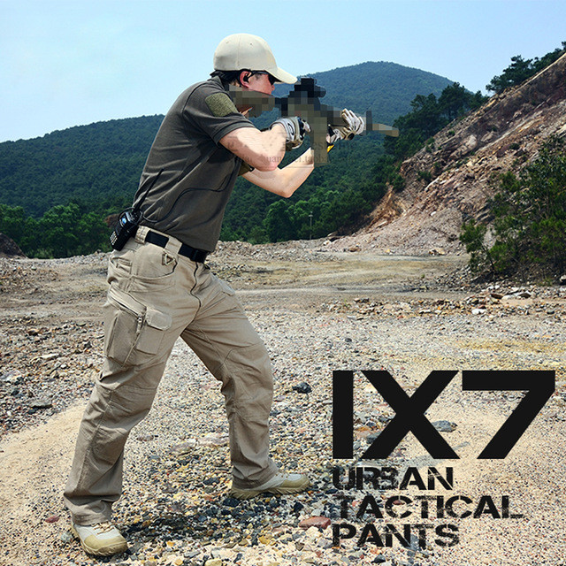 Khaki / Black IX7 Urban Military Army Training Pant Hiking Hunting Camping Combat Tactical Cargo Pants Trousers