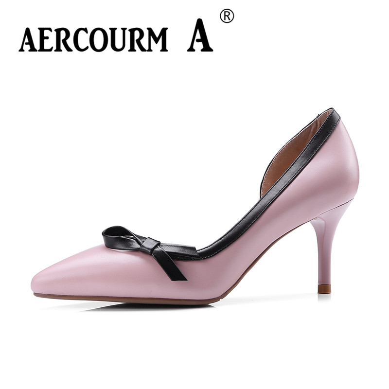 Aercourm A 2018 New Women Genuine Leather Shoes Ladies White Pink Dress Solid Shoes Thin Heel Women Pointed Head Pumps FDE1121 aercourm a 2018 women black fashion shoes female bright genuine leather shoes pearl high heel pumps bow brand new shoes z333