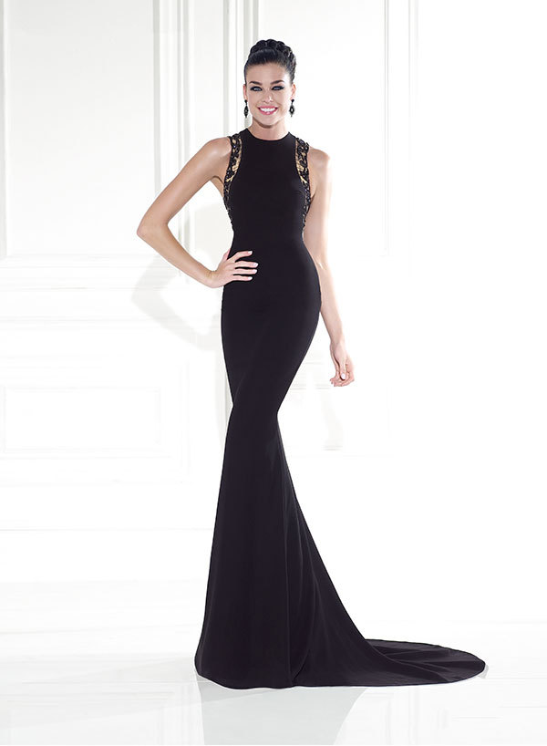 Classic elegant evening dresses black lace sleeveless ...