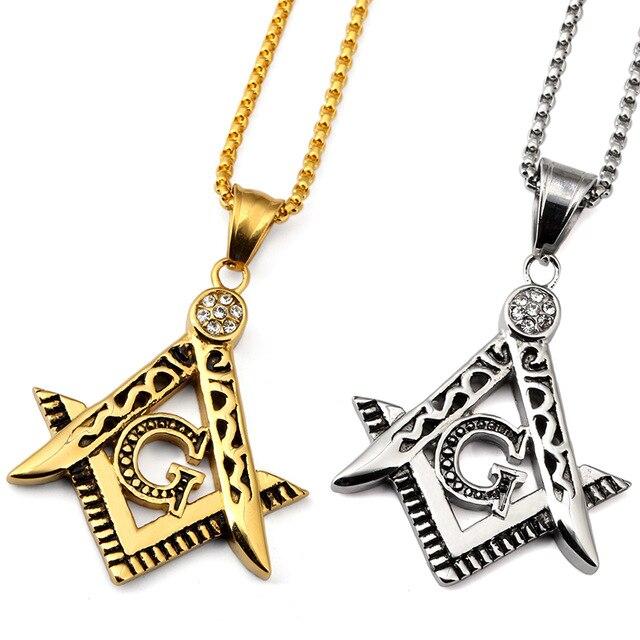 Women men golden titanium steel freemason masonic pendants charm women men golden titanium steel freemason masonic pendants charm bling compass g chains hip hop jewelry aloadofball Gallery