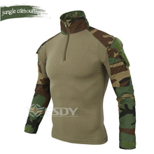 Wholesale Outdoor Camouflage Long Sleeve Frog Suit Men Sport Tops Tactical Tool Cargo t Shirt Army Military Combat Tee 7 Color kryptek mandrake frog fighting suit police frog uniforms army trainning uniform set one long sleeve shirt and one tactical pant