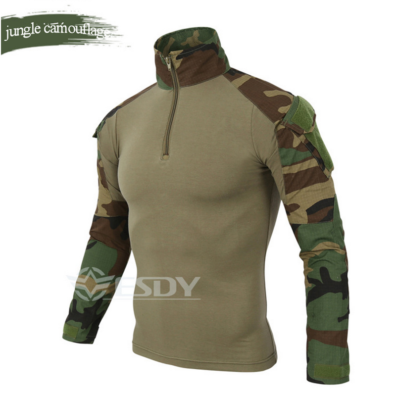 Wholesale ESDY Brand Camouflage Long Sleeve Frog Suit Men Tops Tactical Tool Cargo t Shirt Army Military Combat Tee 7 Color