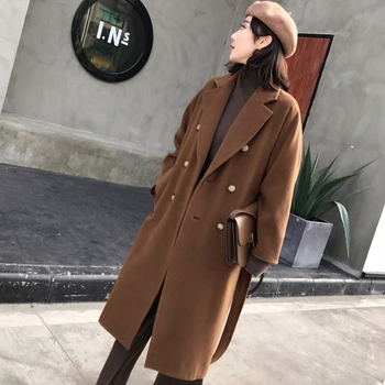Winter Coat Women's Long Wool Coats With Belt Loose Trench Coat Brand Style Wine Red Chocolate Camel