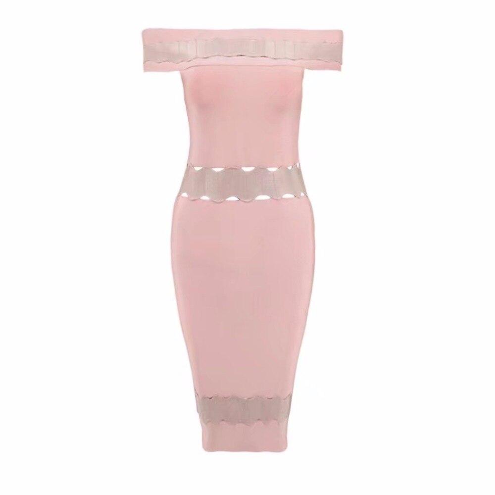Tricoté Femmes Moulante Qualité Élastique Cou A Rayonne Rose Jacquard Bandage Slash Robe Sexy Élégante 20 Designer Top 2017 5Pw7qA