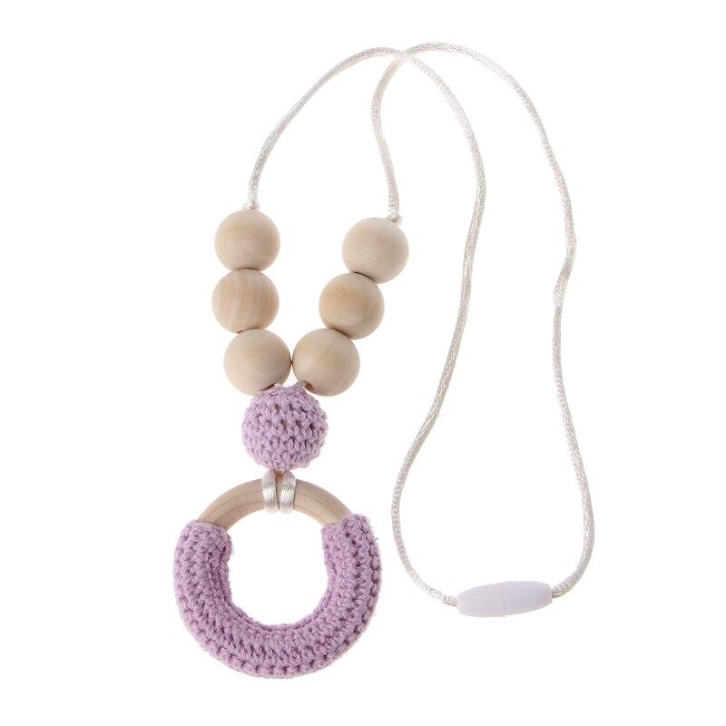 ОРГАНИЧЕСКИЙ ХЛОПОК прорезывания зубов Цепочки и ожерелья для мамы деревянный звонкое Цепочки и ожерелья ребенка мама подарок Аксессуары для младенцев - Цвет: Фиолетовый