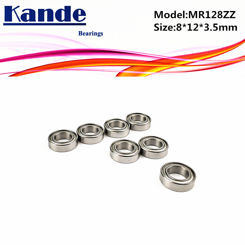 Kande Bearings 10pcs <font><b>MR128ZZ</b></font> 8x12x3.5 MR128 ZZ MR128 MR128 ZZ Miniature Ball Bearing image