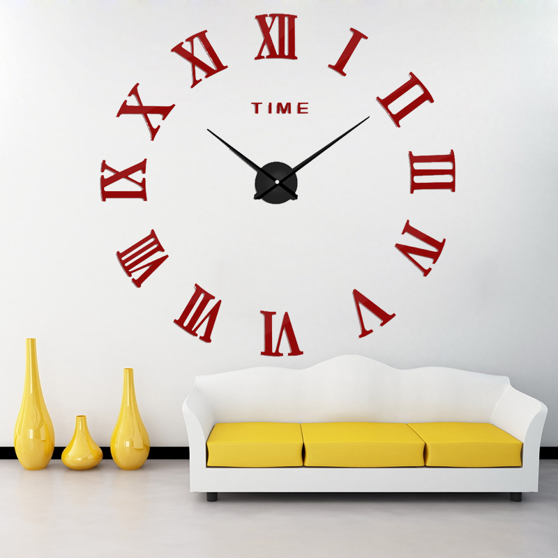 Top sell New Fashion Big Size Wall Clock Mirror Sticker  Wall Clocks Home Decoration Wall Clocks  Room Wall Watch Free Shipping