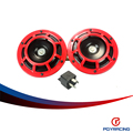 PQY RACING- RED 2pcs/1 Pair 12v 110dB SUPER LOUD COMPACT ELECTRIC AIR BLAST TONE HORN FOR MOTORCYCLE AND CAR PQY- LB31