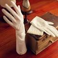 Marfim luvas de Dedos Completos Longas Luvas de Noiva Luvas Luvas de Casamento Acessórios De Noiva Branco Atado Frisado Borda Transparente