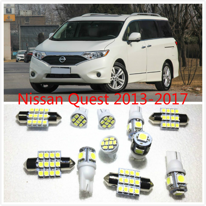 11 set White LED Lights Interior Package Map Dome For Nissan Frontier Quest GT-R Juke Leaf 2013-2016
