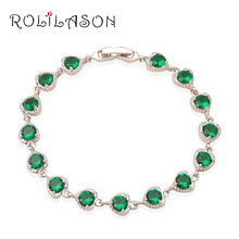 Beautiful  accessories for women Heart style Green Crystal  white Gold Tone charm bracelets  Health  Fashion jewelry TB464