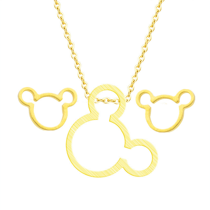 Cartoon Schmuck Miki Mouse Pendant Necklace Stud Earrings For Women Turkish Jewelry Set Stainless Steel Gold Silver Brincos 2018