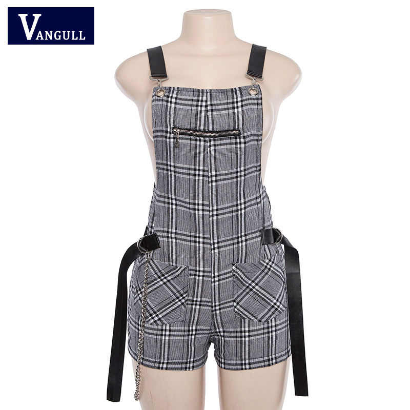 Vangull Vrouwen Casual Playsuit Plaid Romper Jumpsuit Shorts Zomer Backless Strap Overalls Vrouwelijke Lady Bandage Gesp Playsuit