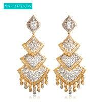 MECHOSEN Exquisite Dangle Tassel Sector Drop Earrings Cubic Zirconia 2 Tones Brass Celebrity Bridal Jewelry pendientes flecos