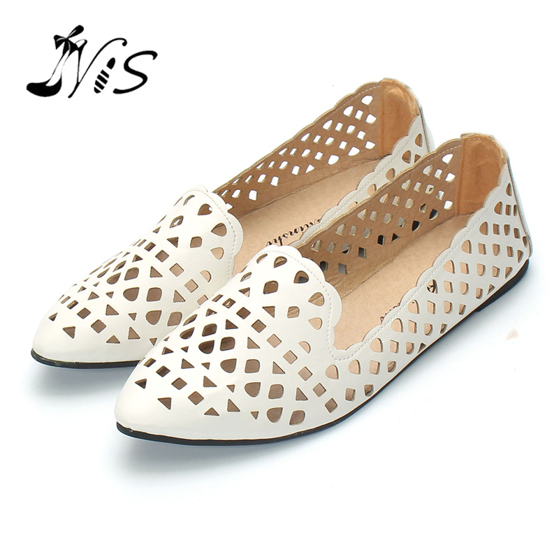 NIS Women Hollow Out Casual Flats Pointed Shoes Hot Sale New Ladies Shoes Fashion Solid Soft Woman Flats Loafers 2017 Summer kbstyle 2017 new spring shoes for women brand pointed toe womens flats fashion young ladies casual shoes hot sale wholesale