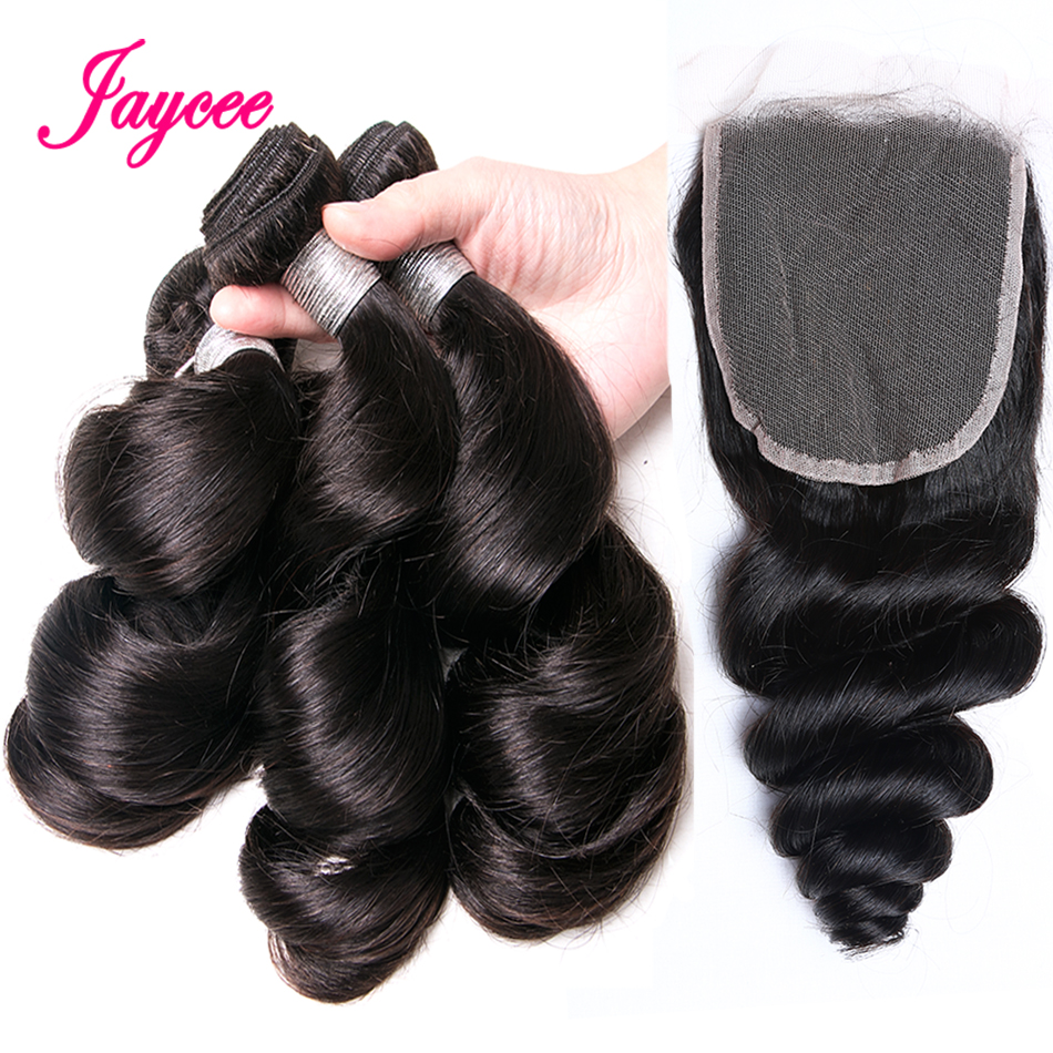Jaycee Hair Extensions Brazilian Loose Wave Bundles with Closure Non-Remy Human Hair Bundles with Closure Cheveux Bresiliens
