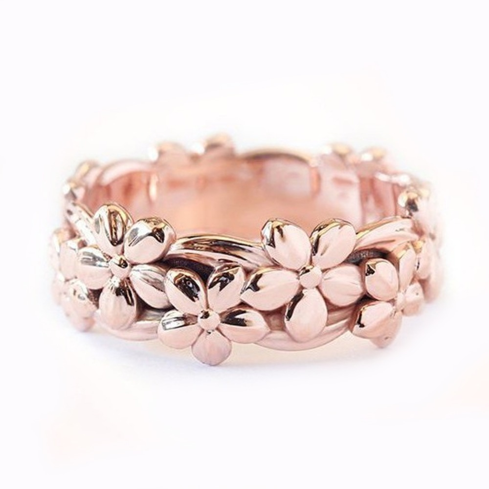 Genuine Women Silver Floral Ring Dazzling Flower Vine Jewelry Gift Propasal Ring