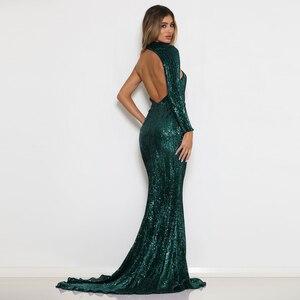 Зеленое эластичное Вечернее Платье макси с блестками и одним рукавом, длиной до пола, с открытой спиной, платье русалки