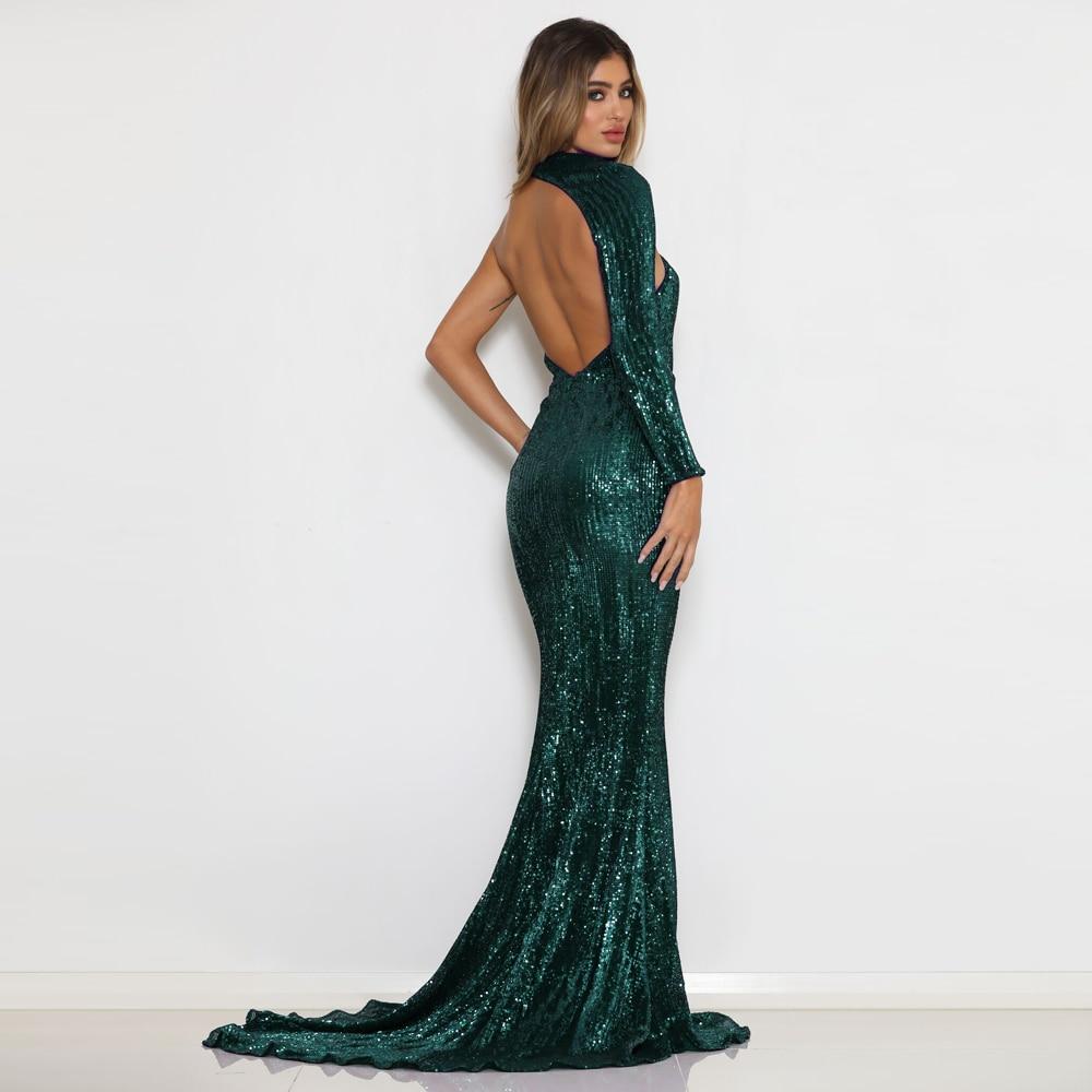 Зеленое платье с блестками на одно плечо, эластичное платье макси с одним рукавом, вечернее платье длиной до пола, платье русалки с открытой ...