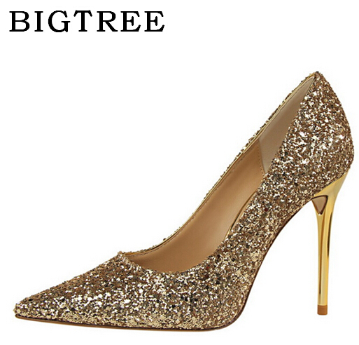 BIGTREE European Style Shoes Pumps, High - heeled 9.5cm Shallow Mouth Pointed Shiny Sequins Sexy Nightclubs High Heels Shoe female summer european style stitching sequins pointed personality gradient color with ultra thin high heeled shoes