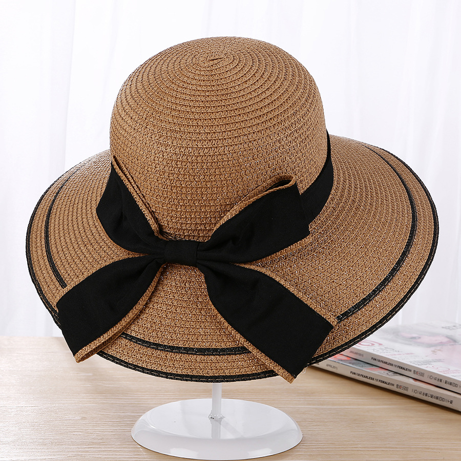65f0613a3cbe5 Sun Hat Big Black Bow Summer Hats For Women Foldable Straw Beach Panama Hat  Visor Wide Brim Femme Female 2018 New -in Sun Hats from Apparel Accessories  on ...