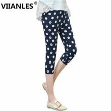 VIIANLES Summer Short leggings Star Floral Printing Leggings Ladies Casual Leggins Elastic Cropped Pants Capris Jeggin