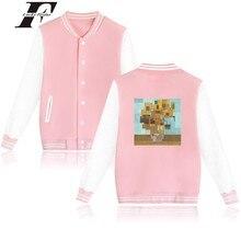 LUCKYFRIDAYF Funny Painting Baseball Jacket Plus Warm Cotton Coat 4XL Sweatshirt Female Winter Jacket Women Slim